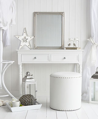 White New England dressing table with silver handles