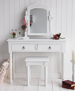 New England white dressing table with antique brass handles