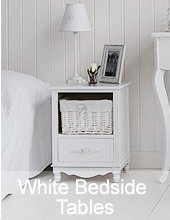 White bedside table and cabinets